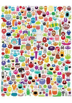 Digitaldruck - Poster, 244 Monster von la-parenthese-enchantee via DaWanda.com