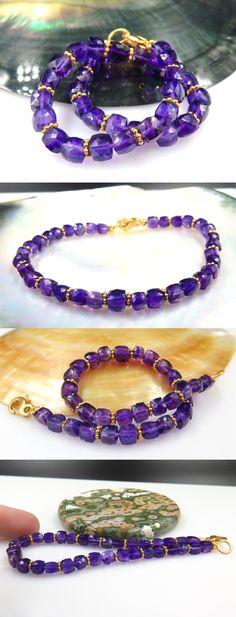 Gemstone 164315: Gorgeous Aaaaa Uruguay Faceted Cube Gem Royal Purple Amethyst Bracelet -> BUY IT NOW ONLY: $259 on eBay!