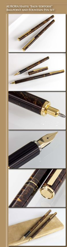 "AURORA Hastil ""Faux-tortoise"" Ballpoint & Fountain Pen Set (Thuya lacquered metal body, gold-plated trim, 14kt gold nib) - 1980s / Italy"