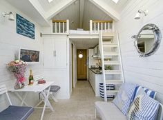 Beach Hut Living Room... Tiny House Living by the Sea! http://beachblissliving.com/beach-hut-rentals/