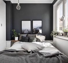 Small Master Bedroom Design with Elegant Style - MagzHome - Home bedroom - Bedding Master Bedroom Gray Bedroom Walls, Small Grey Bedroom, Grey Room, Master Bedroom Design, Grey Walls, Home Decor Bedroom, Modern Bedroom, Small Bedrooms, Master Bedrooms
