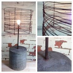 Cement lamp, hand made lamp, wire lamp shade, industrial bedside lamp