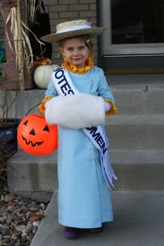 Sabine's great-great aunts were suffragettes. When we showed her Mary Poppins, and explained Mrs. Banks was a suffragette like some of great-granddad's sisters, nothing would do for Halloween but a Mrs. Banks/Suffragette costume. (Thanks to Grandmom for the sewing skills!) Repost from A Mighty Girl.