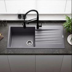 Kitchen Sink Cleaner, Grey Kitchen Sink, Kitchen Window Bar, Granite Kitchen Sinks, Kitchen Sink Design, Single Bowl Kitchen Sink, Red Kitchen, Kitchen Ideas, Kitchen Inspiration