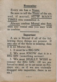 """from 1927 """"Examination of Conscience for Boys and Girls"""""""