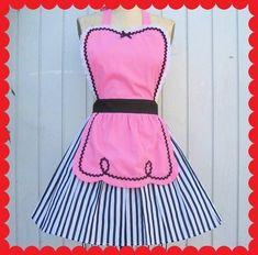 apron pink apron 50s apron full apron