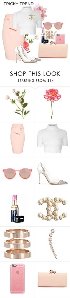"""Tricky Trend"" by lxtifa on Polyvore featuring OKA, Universal Lighting and Decor, Topshop, Glamorous, Le Specs, Gianvito Rossi, Chanel, Repossi, Sara Weinstock and Casetify"