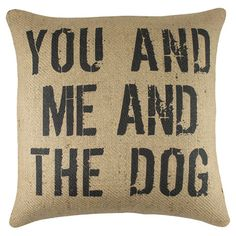 Burlap pillow with a typographic motif. Made in the USA.   Product: PillowConstruction Material: Burlap cover and co...