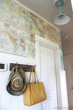 Create a whimsical sense of travel and adventure by using paper maps to decorate your walls.