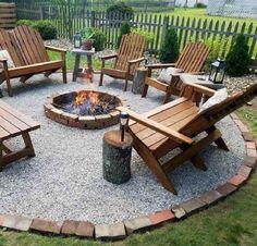 Diy Fire Pit, Fire Pit Backyard, Back Yard Fire Pit, Steep Backyard, Backyard House, Backyard Patio Designs, Backyard Landscaping, Landscaping Ideas, Small Patio Design