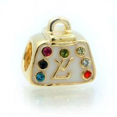.925 Sterling Silver Gold Plated : LV Handbag w/Multicolor CZ : Charm Bead Compatible with Pandora Chamilia Kay Troll Bracelet