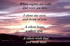 When nights are cold and stars are few, I close my eyes and think of you. A silent hope, a silent tear, A silent wish that you were hear. Miss Mom, Miss You Dad, Wish You Are Here, Always Love You, Missing My Husband, Grieving Quotes, Missing You Quotes, Close My Eyes, In Loving Memory