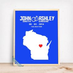 WISCONSIN CUSTOMIZED WEDDING MAP PRINT by Voca Prints! Modern customized wedding map poster with 42 background color choices. Great gift for anniversary and wedding.