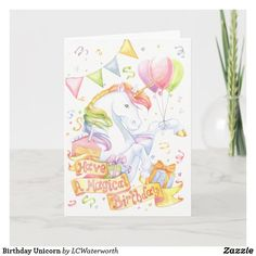 Birthday Unicorn Card for daughter Birthday Gift Cards, Birthday Greetings, Birthday Party Invitations, Unicorn Birthday Parties, Unicorn Party, 2nd Birthday, Cute Unicorn, Unicorn Wall, Horse Cards