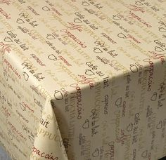 'Cafe Bistro' Cotton Print Vinyl Covered Tablecloth