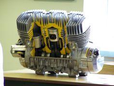 Kawasaki 750 H2 cut away engine. Piston port two stroke.