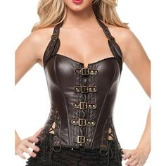 $22.20 Sexy Halter Neck Lace-Up Slimming Faux Leather Women's Corset