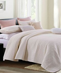 Take a look at this Nadine Ivory Basket Weave Quilt Set today! Home Decor Bedding, Apartment Goals, Queen Quilt, Quilt Sets, Cottage Chic, Basket Weaving, Bed Pillows, Master Bedroom, Quilts