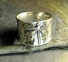 Sterling Silver Dragonfly Ring Wide Band - $65.00