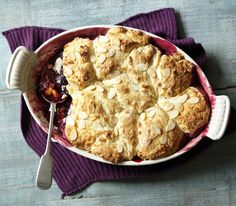Rick Stein uses a food processor to whizz together the topping for his sticky damson cobbler - it's up to the oven to do the hard work