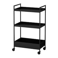NISSAFORS Utility cart - black - IKEA - Perfect for use in your kitchen, bathroom or where you need some extra storage space. The sturdy co - Kitchen Island Trolley, Kitchen Cart, Kitchen Utensils, Kitchen Stuff, Extra Storage Space, Storage Spaces, Catalogue Ikea, Bamboo Light, Ikea Alex