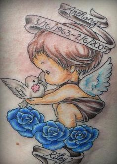 Cherub with dove on blue roses memorial tattoo