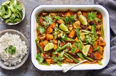Jamie Oliver's tasty traybake features Thai-spiced chicken and squash, and is totally dairy- and gluten-free. Find more Healthy recipes at Tesco Real Food. Best Chicken Thigh Recipe, Easy Chicken Thigh Recipes, Chicken Recipes, Tray Bake Recipes, Dinner Recipes, Cooking Recipes, Healthy Recipes, Vegetarian Recipes, Batch Cooking