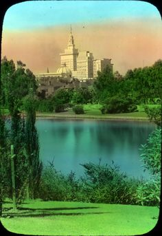 Oakland City Hall and Cathedral Building from Lake Merritt (ca. 1914) Photograph was hand colored, via OSU Archives