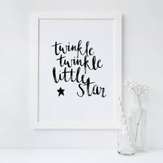 "A fantastically artistic watercolour print, perfect for any room of your home.This watercolour print of hand painted wording of ""twinkle twinkle little star"", is the perfect additon to any home. Use to celebrate the arrival of bouncing baby beau, or simply to decorate a beautiful place to sleep. The simplisitic watercolour wording in off black colouring, will lend itself to any decor and measuring in at a4 size, it's perfect to even display on a desk or side board.Ethically printed within…"