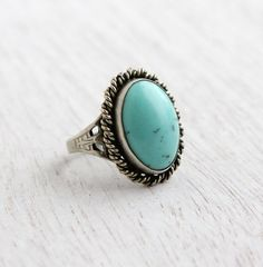Vintage Faux Turquoise Ring - 1960s Silver Tone Adjustable Statement Costume Jewelry / Speckled Teal by Maejean Vintage on Etsy, $24.00