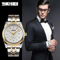 Luxury Diamond Gold Couple Metal Band Watch Meterial Custom Brand Watch