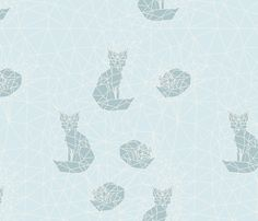 fox_geodic_monochrome_bleu fabric by nadja_petremand on Spoonflower - custom fabric
