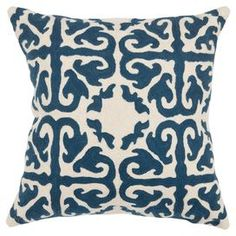 Add a pop of pattern to your sofa or loveseat with this eye-catching cotton pillow, showcasing a medallion-inspired motif in navy.  Product: Set of 2 pillowsConstruction Material: Cotton canvas cover and down fillColor: Navy and creamFeatures:  Inserts includedScrolling motifHand-stitched embroideryCleaning and Care: Dry clean recommended