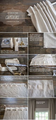 DIY Back Tab Curtains I've been contemplating how to make my new curtains for our master and this timely post came to my inbox showing just exactly how to do it the way I wanted! -KWA The post DIY Back Tab Curtains appeared first on Curtains Diy. No Sew Curtains, How To Make Curtains, Curtains With Blinds, Curtain Fabric, Custom Curtains, Curtains Living, Diy Window Blinds, Small Window Curtains, Fabric Blinds