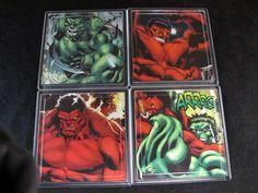 The Hulk Comic Coaster Set by EpicButtons on Etsy, $20.00
