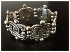 Taxco Sterling Silver Bracelet  Bracelets Vintage by sugardrawers