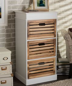 Look at this #zulilyfind! White & Light Brown Rochefort Country-Style Storage Cabinet by Baxton Studio #zulilyfinds