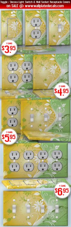 DIY Do It Yourself Home Decor - Easy to apply wall plate wraps | Abstraction on Yellow  White flower silhouette on grunge background  wallplate skin stickers for single, double, triple and quadruple Toggle and Decora Light Switches, Wall Socket Duplex Receptacles, and blank decals without inside cuts for special outlets | On SALE now only $3.95 - $6.95