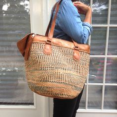 African goods Large Tazania woven stripe leather traveler bag