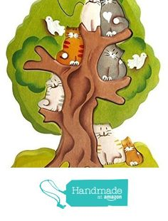 3D Wooden Jigsaw Puzzle - Cats on a Tree - Waldorf Stacking Handcarved and Hand-painted Toy from Fairy Forest Lodge https://www.amazon.com/dp/B01M7QUMUE/ref=hnd_sw_r_pi_awdo_2HKrybDEFNJQV #handmadeatamazon