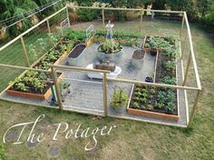 The Potager fenced vegetable garden with raised beds #gardenwithfence