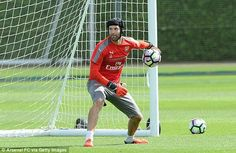 Petr in the London Colney training grounds of Arsenal.