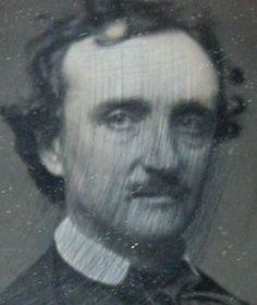 The c. 1847 daguerreotype of Edgar Allan Poe purchased by Sally Guest from an antiques shop in Iowa for $96. It is identifiable by the streaks running across the face of the image.