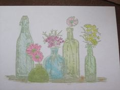 Bottle Vases Greeting Card  www.caguimbalcreations.weebly.com