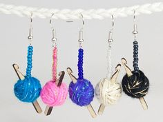 Sparkly Crochet Hook Earrings  5 colours of yarn to от maxsworld, £12.00