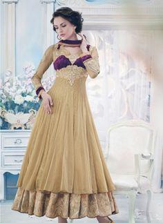 Beige designer double layer Pakistani fashion anarkali
