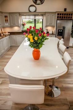 Quartz Kitchen Countertops by McMonagle Marble & Granite Quartz Kitchen Countertops, Granite Kitchen, Marble Stones, Table Settings, Dining Table, Furniture, Home Decor, Decoration Home, Room Decor