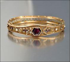 Edwardian Bracelet Antique Jewelry Gold Bangle Pearl by boylerpf, $135.00