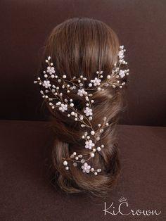 Vid vid largo novia nupcial del pelo tocado de novia perla
