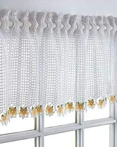 Crochet Home, Valance Curtains, Hand Embroidery, Home Decor, Style, Knitting Bags, Curtains For Kitchen, Crochet Roses, Crochet Curtains